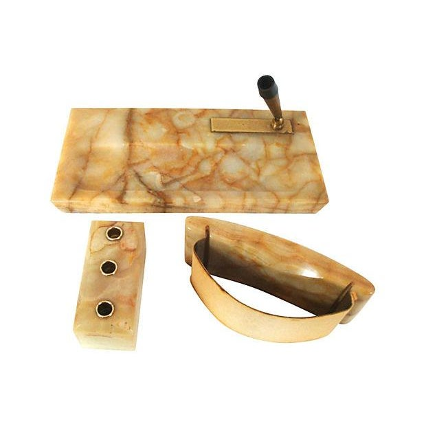 Handsome and hefty three piece natural stone desktop set made of veined onyx polished to a warm luster. Each piece also...