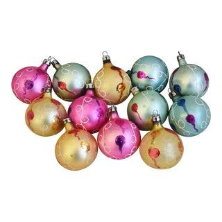 Vintage Colorful Christmas Tree Ornaments W/Box - Set of 12 For Sale