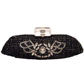 Chanel Black and White Tweed Rhinestone Perfume Bottle Clutch For Sale