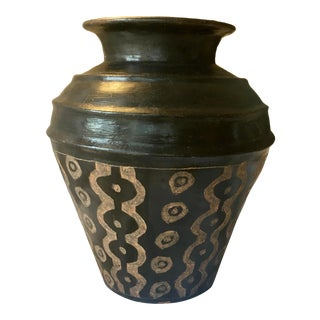 Mid 20th Century Wabi Sabi Glazed Urn or Jug With Sgraffito Abstract Detailis For Sale