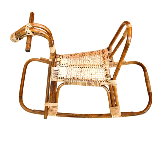 1970s Vintage Franco Albini Childs Rattan Horse Rocker Rocking Horse For Sale