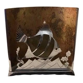 Circa 1930's Art Deco French Chromed Art Deco Figural Fish Tv Lamp Night Light Signed Lw Paris For Sale