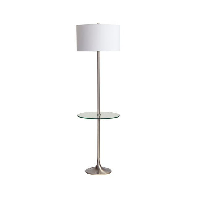 Vintage tulip floor lamp made by Laurel Lamp Co. in a brushed nickel finish with a built-in glass end table. Lamp and end...