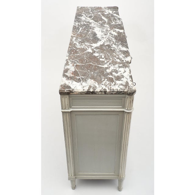 Painted Louis XVI Style Buffet With Marble Top For Sale In Austin - Image 6 of 11