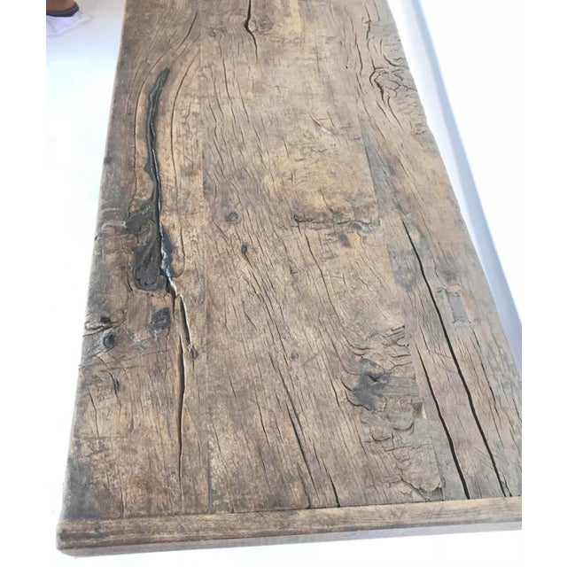Rustic Rustic Elm Wood Console / Altar Table With Curved Stretchers For Sale - Image 3 of 7