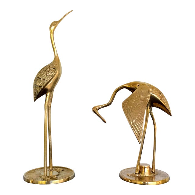 Vintage Brass Cranes - a Pair For Sale