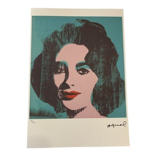 "Turquoise Andy Warhol Limited Edition ""Liz, 1964"" Stone Signed, Numbered, and Authenticated Lithograph For Sale"