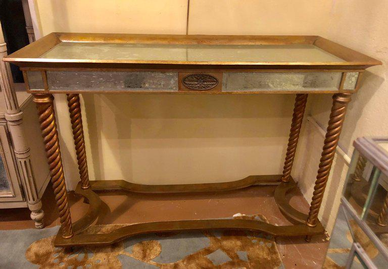 hollywood regency mirrored furniture. Hollywood Regency Mirrored Console Or Sofa Table With Giltwood Barley Twist Legs - Image 2 Of Furniture B