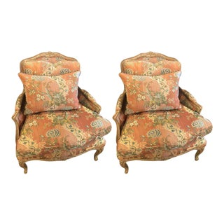 Louis XV Style Overstuffed Bergere Chairs by Maison Jansen - a Pair