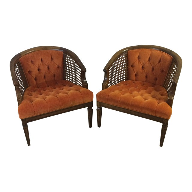 Mid-Century Wood and Cane Barrel Chairs - Pair For Sale