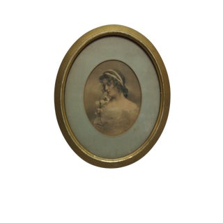 """Early 20th Century Antique """"Flowing Beauty"""" Oval Framed & Matted Hand-Colored Photograph For Sale"""
