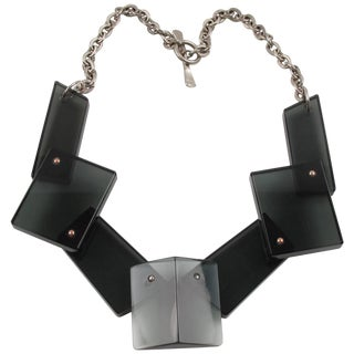 Modernist Smoke Gray Lucite and Silvered Metal Geometric Bib Necklace For Sale