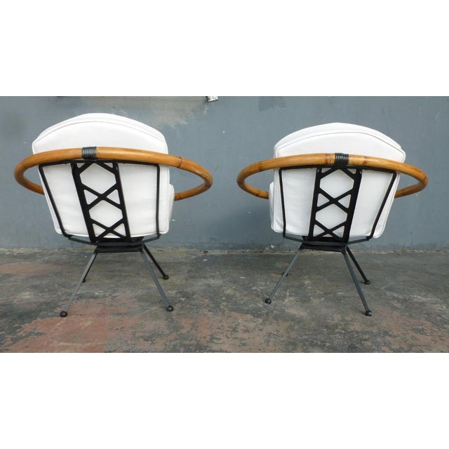Rare Mid Century Flying Saucer Ritts Tropitan Rattan and Iron Patio Chairs Restored For Sale In Miami - Image 6 of 9