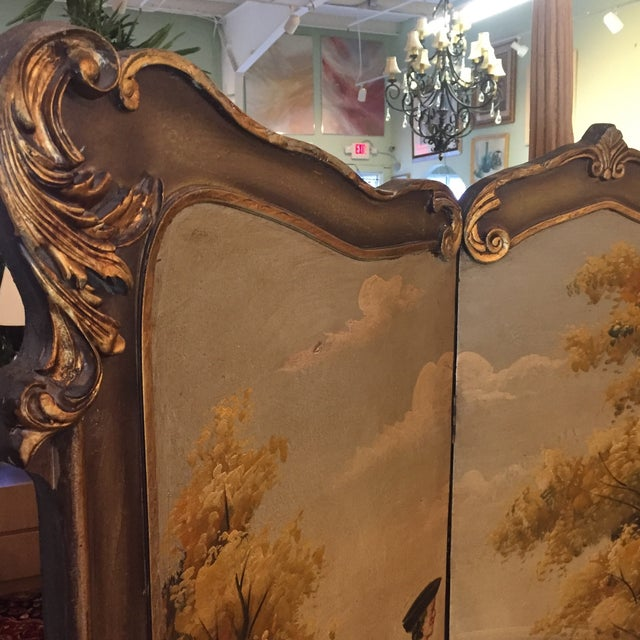 Blue Hand Painted Colonial Scene Divider Screen For Sale - Image 8 of 11