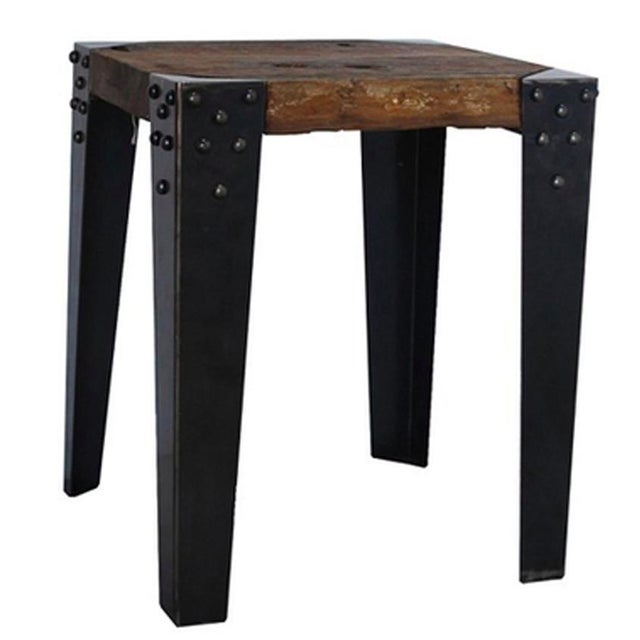 Reclaimed Teak & Iron Side Table - Image 2 of 2