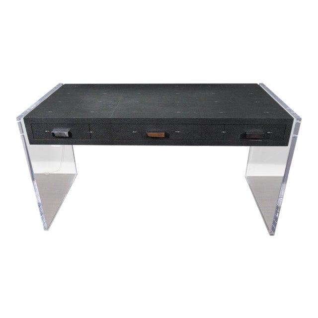 Sleek Black Shagreen Desk with Lucite Side Panels For Sale