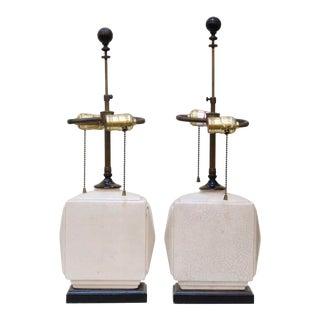 Petite Antique Craquelure Lamps, a Pair For Sale