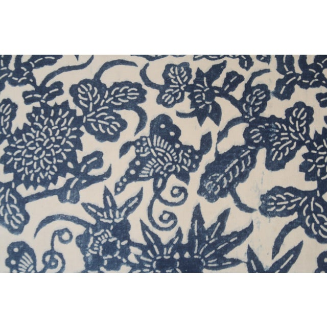 French Blue Floral/Fauna Block Print Pillows - a Pair For Sale - Image 4 of 5