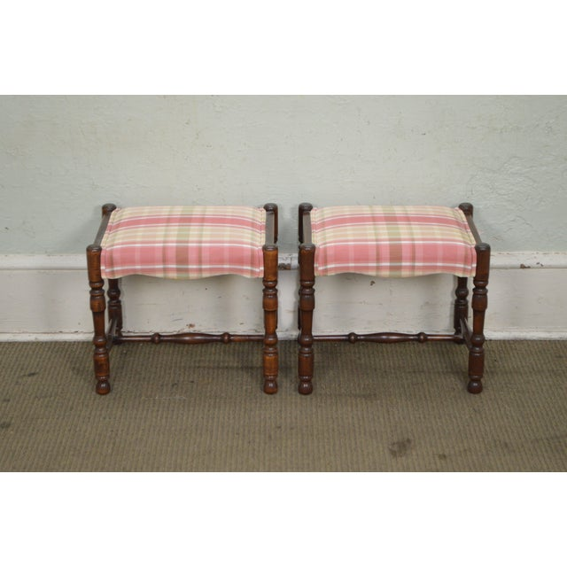 William & Mary Style Bobbin Turned Walnut Stools or Benches - A Pair For Sale - Image 10 of 13