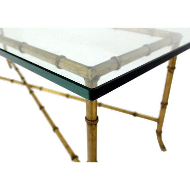 Early 20th Century X Base Rectangular Mid Century Modern Gilt Faux Bamboo Glass Top Coffee Table For Sale - Image 5 of 9