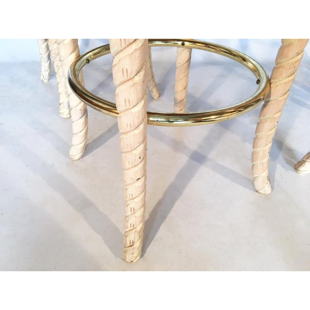 Brass Carved Rope Cane Back Bar Stools - Set of 4 For Sale - Image 7 of 8