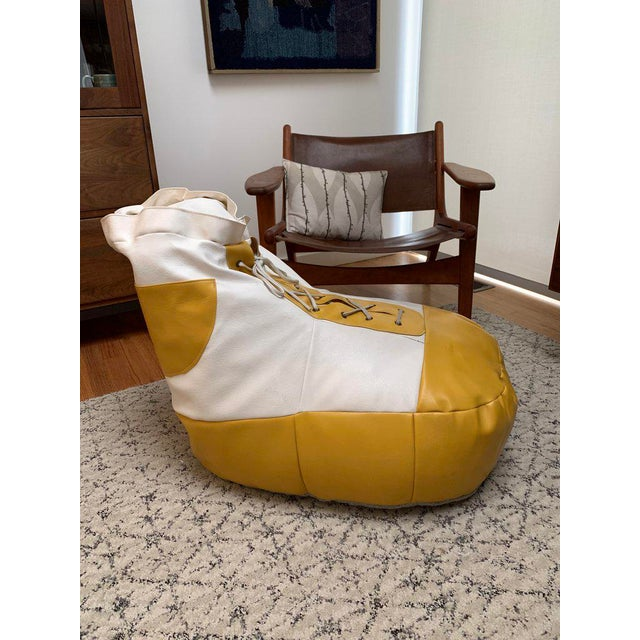 1970s White and Yellow De Sede Sneaker Bean Bag Chair or Ottoman For Sale - Image 11 of 12