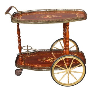 1960s Italian Inlaid Rolling Tea Cart/ Rolling Bar Cart For Sale