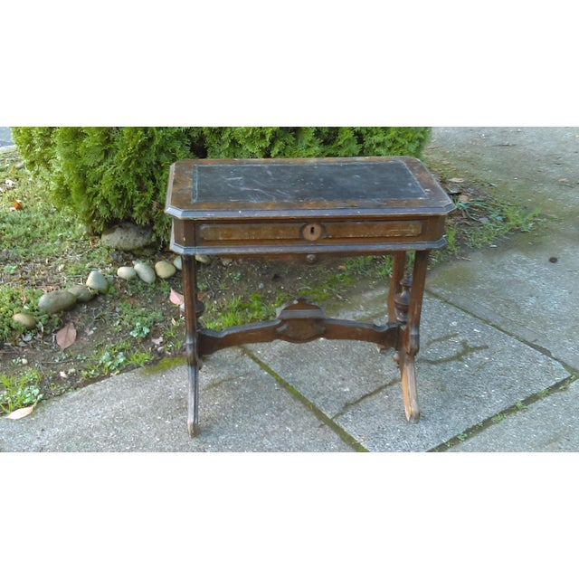 Antique Writing Desk With Stretched Leather Top - Image 2 of 11