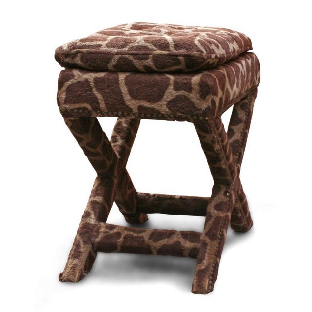 1970s Giraffe Print Upholstered X-Frame Bench after Billy Baldwin For Sale - Image 5 of 5
