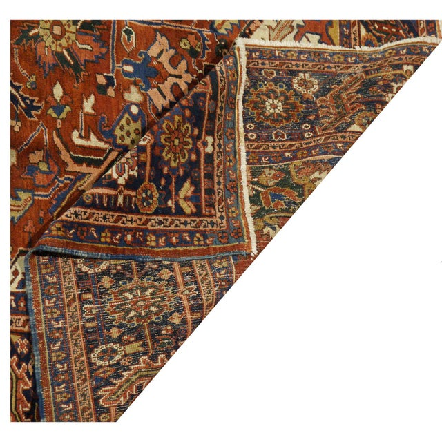 "Traditional Heriz Wool Rug - 9'6"" x 12'3"" For Sale - Image 4 of 4"