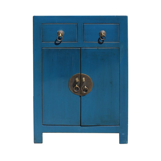 Wood Oriental Distressed Teal Blue Chathams Lacquer Side End Table Nightstand For Sale - Image 7 of 7