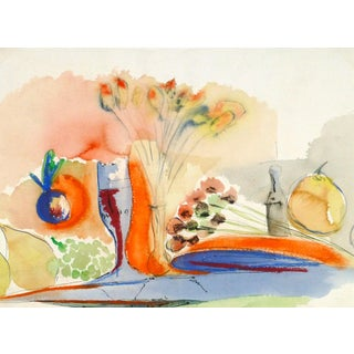Watercolor Still Life - Golden Tablescape For Sale