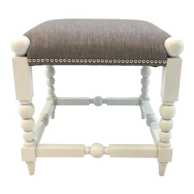 Transitional White and Gray Julianne Ottoman For Sale