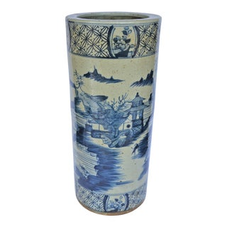 Chinoiserie Blue Canton Umbrella Stand For Sale