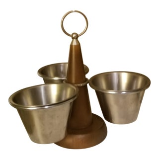 Teak Brass and Metal Swiveling Mid-Century Condiment Server For Sale
