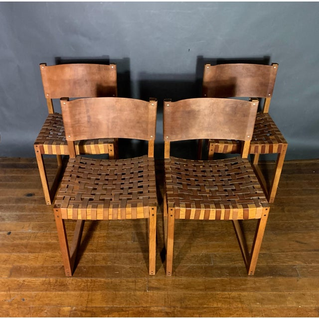Mid-Century Modern Set of Six Danish 1970 Woven Leather & Oak Dining Chairs For Sale - Image 3 of 11
