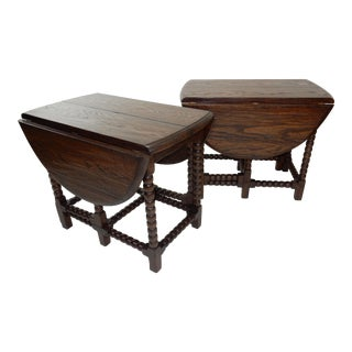 Antique English Oak Drop Leaf Gate Leg Tavern Tables - A Pair For Sale