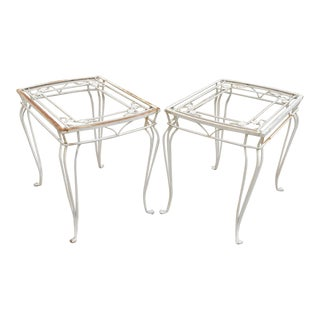 Mid 20th Century Vintage Salterini Mount Vernon White Large Wrought Iron Patio Side Tables - a Pair For Sale