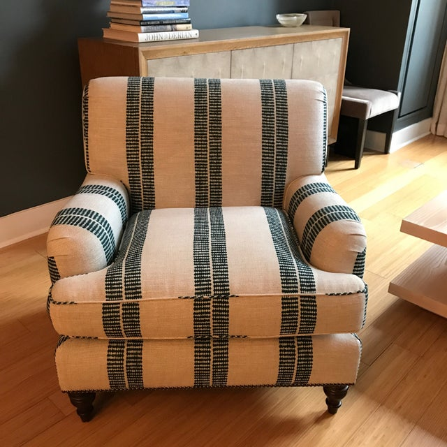 English Clay Mclaurin Fabric Upholstered Roll Arm Club Chair For Sale - Image 4 of 4