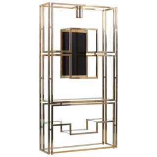 Kim Moltzer Brass, Silvered Metal and Glass Illuminated Open Display Case For Sale