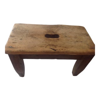 Rustic Primitive Americana Wooden Handmade Milking Stool Bench Child's Stool For Sale