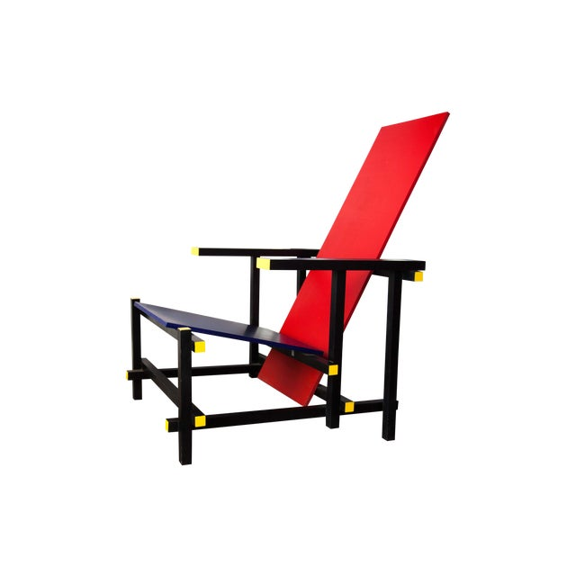 Modern Red & Blue Lounge Chair For Sale