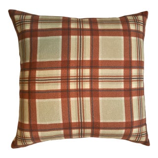 Surya Plaid Pillow with Down Insert For Sale