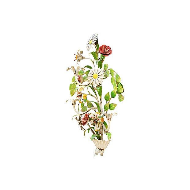 1940s Italian Hand-Painted Tole Floral Sconce - Image 4 of 7