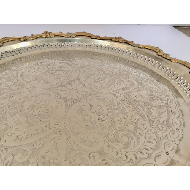 Moroccan Handcrafted Silver Round Tray With Brass Overlay Moorish Designs For Sale - Image 9 of 13