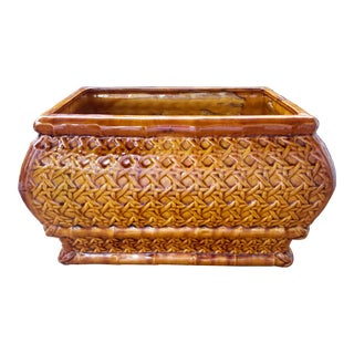Vintage Mid Century Ceramic Faux Bamboo and Cane Woven Jardiniere Planter For Sale
