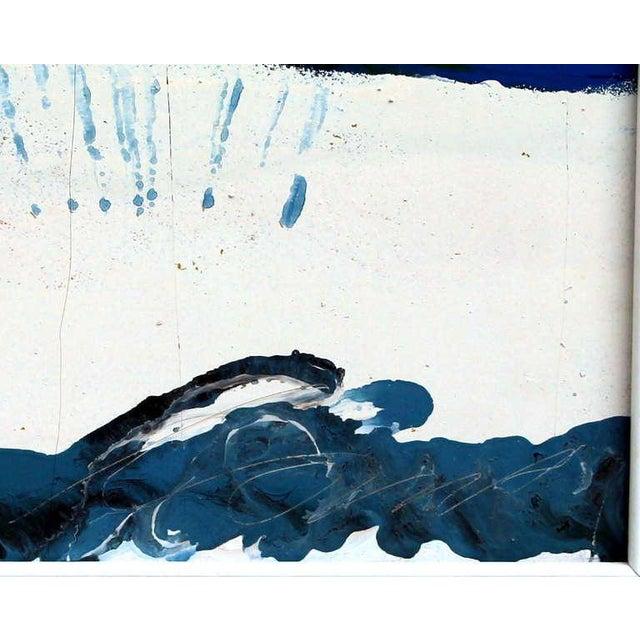 Wood Large Vintage Expressionist Landscape Painting Signed Enamel on Board For Sale - Image 7 of 11