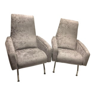 1960s Mid-Century Modern Silver Lounge Chairs - a Pair