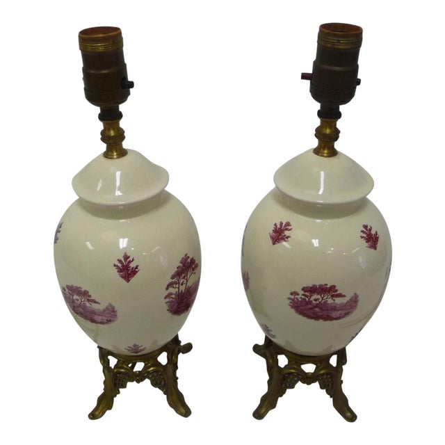 Semi-Porcelain Victorian-Style Table Lamps - A Pair - Image 1 of 7