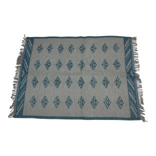 "Swedish Flat Weave Rug - 4'6"" X 6' For Sale"